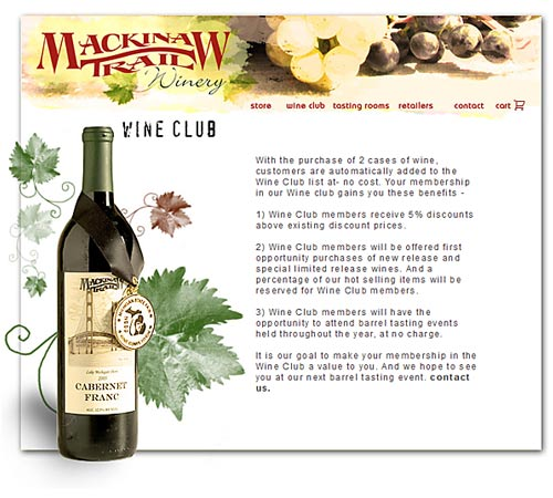 Mackinaw Trail Winary web site design